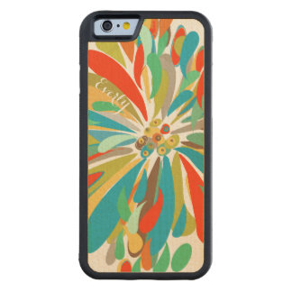 Modern Blue Green Red  Chrysanthemum on Wood Carved® Maple iPhone 6 Bumper
