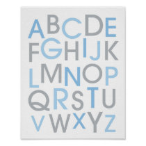 Modern Blue & Grey Alphabet Nursery Wall Art Print