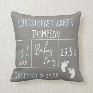 Modern Blue Grey Baby Boy photo Birth Announcement Throw Pillow