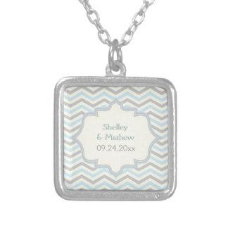 Modern blue, grey, ivory chevron pattern custom pendant