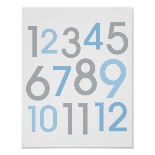 Modern Blue & Grey Number Nursery Wall Art Print