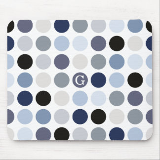 modern blue grey polka dots pattern monogram mouse pad