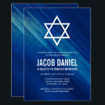 "Modern Blue Grunge Bar Mitzvah Invitations<br><div class=""desc"">Modern navy blue grunge Bar Mitzvah invitations.</div>"