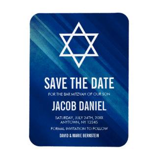 Modern Blue Grunge Bar Mitzvah Save the Date Magnet