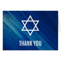 Modern Blue Grunge Bar Mitzvah Thank You Card