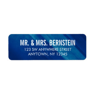 Modern Blue Grunge Return Address Label