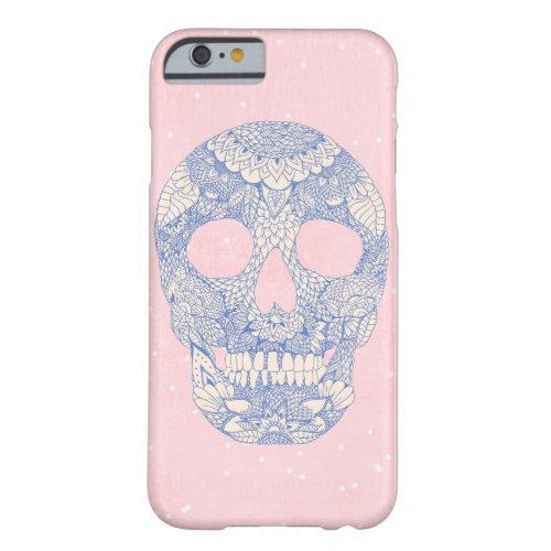 Modern blue hand drawn skull floral lace mandala Phone Case