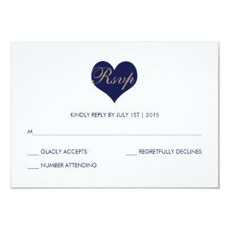 Modern Blue Heart and Stripe - RSVP Card