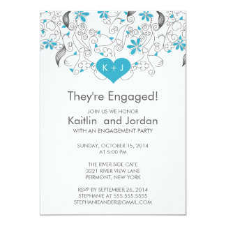 Modern Blue Heart with Flowers Engagement Party Card