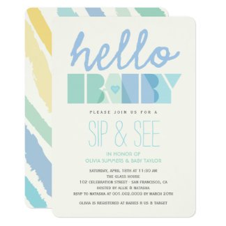 Modern Blue Hello Sip & See Boy Baby Shower Invite