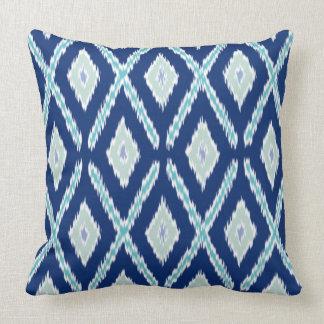 Modern Blue Ikat Pattern Throw Pillow