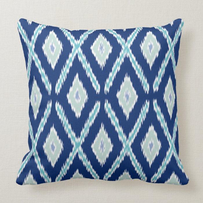 Ikat Design Throw Pillows : Modern Blue Ikat Pattern Throw Pillow Zazzle