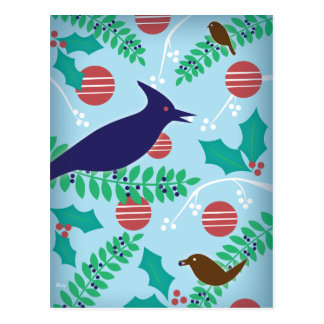 Modern Blue Jay Happy Holiday Postcard