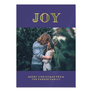 Modern Blue Jewel Tone Christmas Joy with Photo Magnetic Card