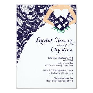 Modern Blue Lace Bride Bridal Shower Invitation