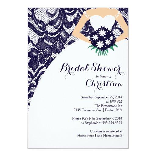 Modern blue lace bride bridal shower invitation zazzle for Modern bridal shower invitations