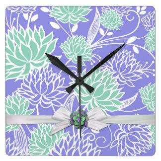 Modern Blue Lotus Damask Ribbon Clock