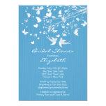 Modern Blue Love Birds Bridal Shower Invitation