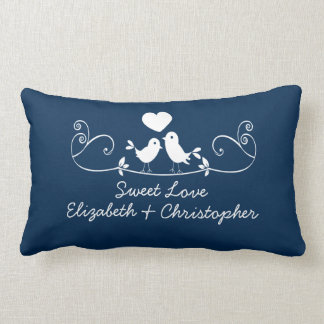 Modern Blue Love Birds Personalized Throw Pillow