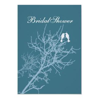 Modern Blue LoveBirds Tree country Bridal Shower Card
