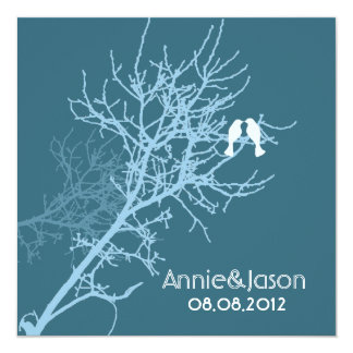 Modern Blue LoveBirds Tree Wedding Invitation