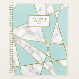 Modern Blue Marble and Gold Geometric Design Planner