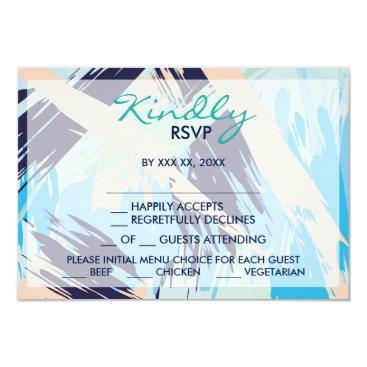 Beach Themed Modern Blue Maritime Menu Choice RSVP Card