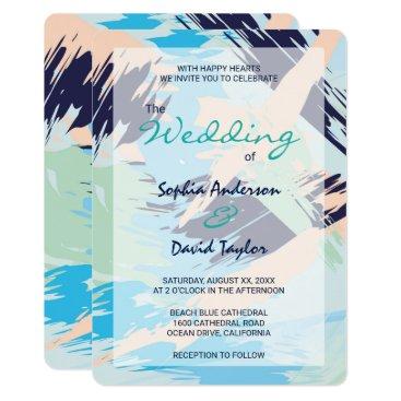 Beach Themed Modern Blue Maritime Wedding Card