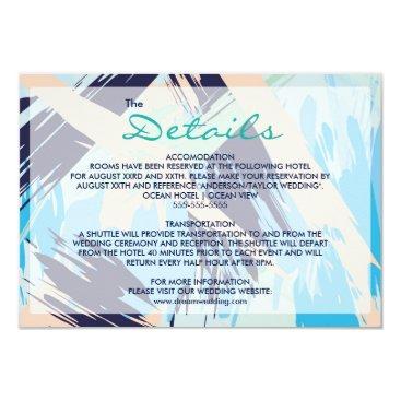 Beach Themed Modern Blue Maritime Wedding Details Card