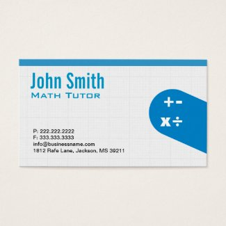 Modern Blue Math Tutor Business Card
