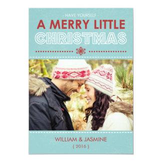 Modern Blue Merry Little Christmas Flat Card