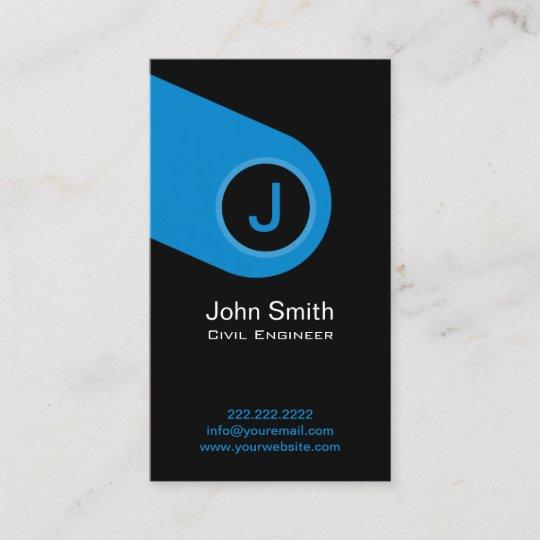 modern blue monogram civil engineer business card - Engineer Business Card