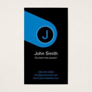 Modern Blue Monogram Climatologist Business Card