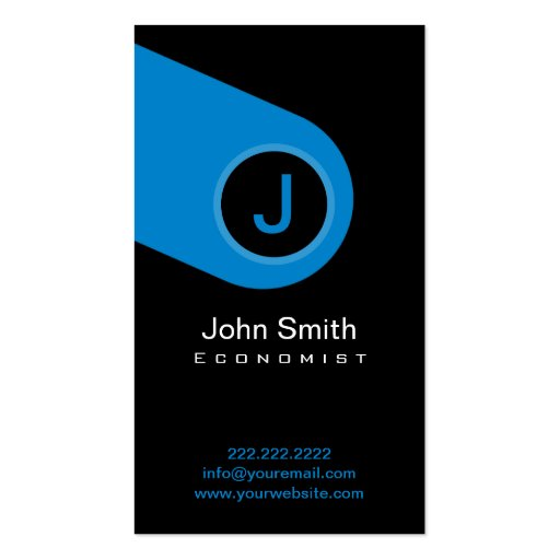 Modern Blue Monogram Economist Business Card