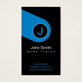 Modern Blue Monogram Game Testing Business Card