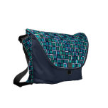 Modern Blue Mosaic Tile Pattern Courier Bag