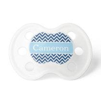 Modern Blue Navy Chevron Baby Boy Monogram Pacifier