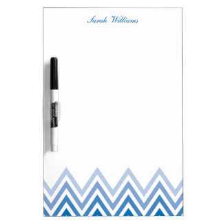 Modern Blue Ombre Chevrons Personalized Dry-Erase Whiteboards
