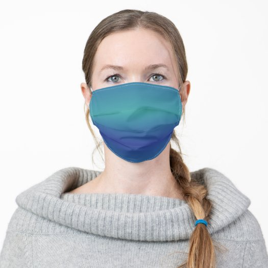 Modern Cool Turquoise & Aqua Blue Ombre Face Mask