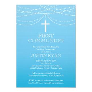 Modern Blue Ombre Garland Cross Boy Communion Card