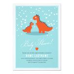 Modern Blue Orange Dinosaur Baby Shower Invitation