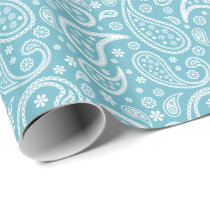 Modern Blue Paisley Pattern Wrapping Paper