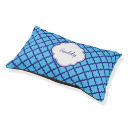 Modern Blue Pattern Dog Bed Personalized