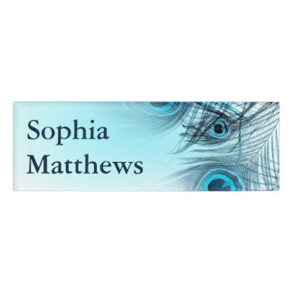 Modern Blue Peacock Feathers Name Tag