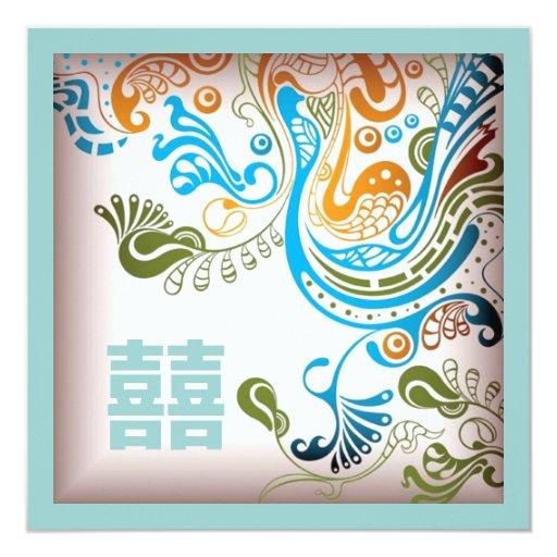 "Modern Blue Phoenix Chinese Wedding Invitation 5.25"" Square Invitation Card"