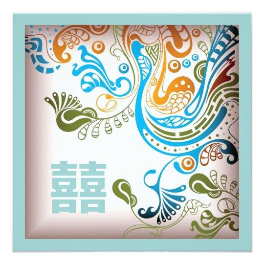 Chinese Wedding Invitations Nyc: Modern Blue Phoenix Chinese Wedding Invitation