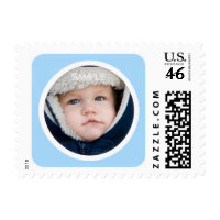 Modern blue photo frame for birth announcements