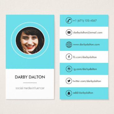 Professional Business Modern Blue Photo Social Media Business Card