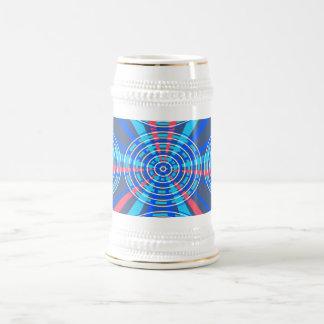 Modern blue pink circles 18 oz beer stein