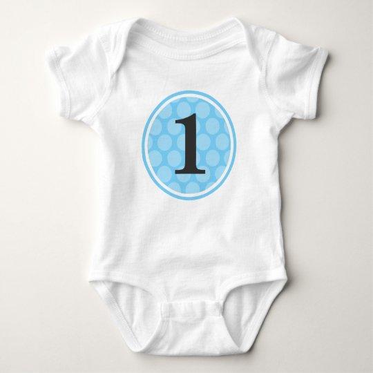 Modern Blue Polka Dot First Birthday Boy Number 1 Baby Bodysuit